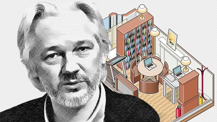 Acceso con clave y preparado para ataques con gas: ¿Cómo era el lugar donde permaneció Assange casi siete años?