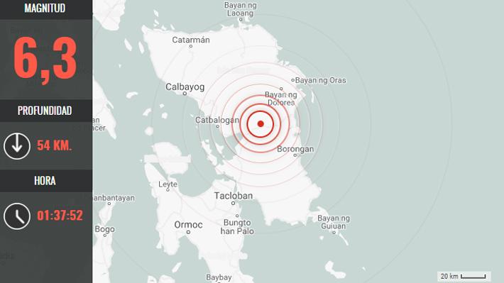 Sismo magnitud 6,3 afecta a Filipinas un día después de terremoto en el norte del país