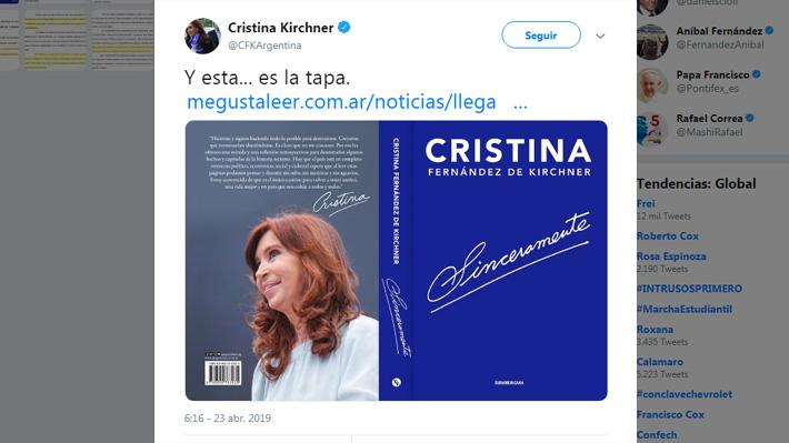 """Lanzamiento de """"Sinceramente"""" de Cristina Fernández marcará la Feria Internacional del Libro de Buenos Aires 2019"""