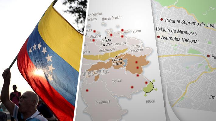 Mapa: Los puntos clave de Caracas y zonas estratégicas de Venezuela