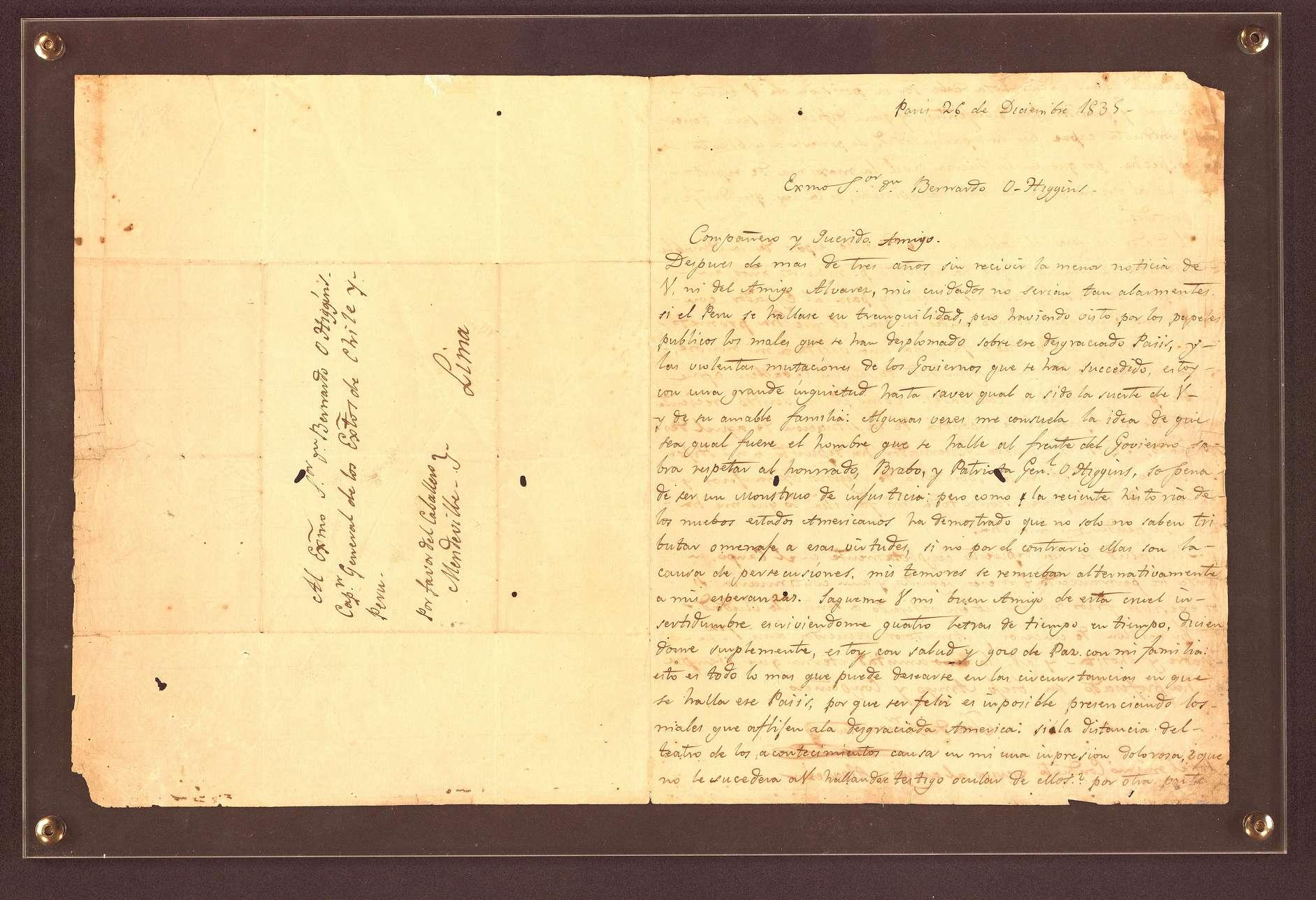 "Instituto O'Higginiano: Carta de San Martín a O'Higgins, que tenía Cristina Fernández, ""debería volver a Chile"""