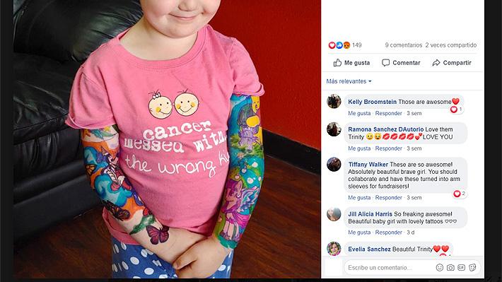 Niña de tres años que lucha contra el cáncer cumple su sueño de tener tatuajes al igual que su padre