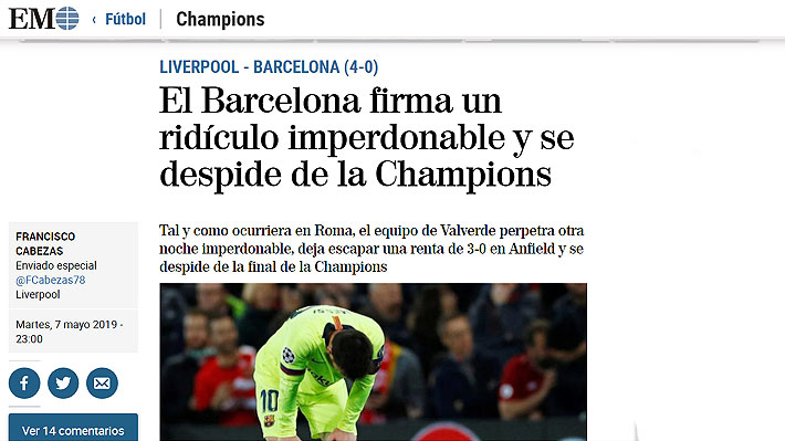 """""""Fiasco monumental, ridículo, fracaso histórico"""": Los titulares en España tras la increíble eliminación del Barcelona"""