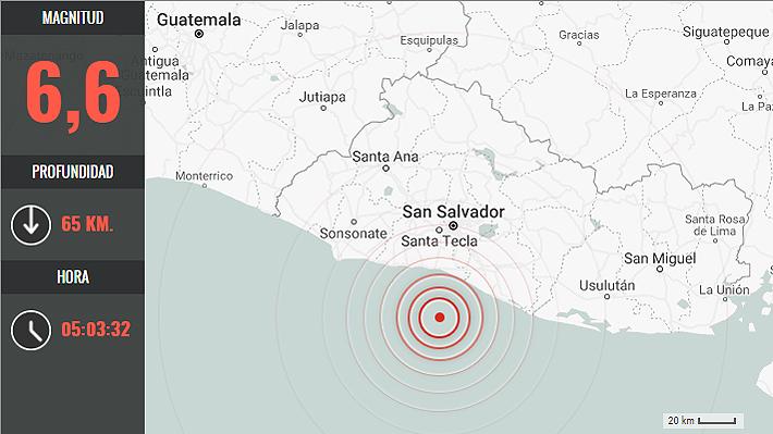 Sismo de magnitud 6,6 remece a la costa de El Salvador