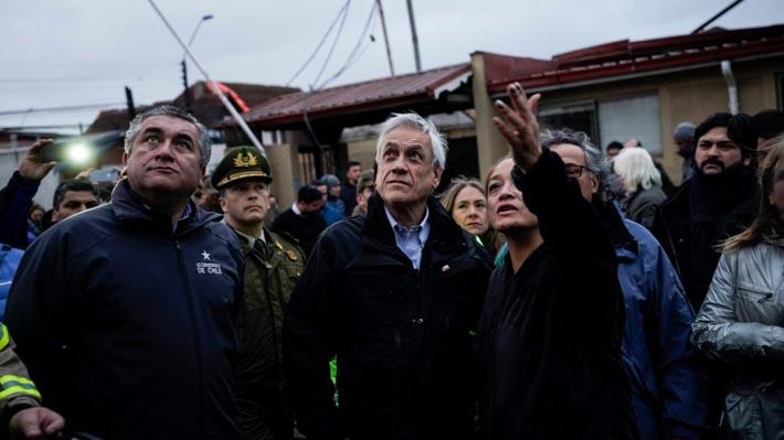 """Piñera tras visita a zonas afectadas en Talcahuano: """"La seguridad y el orden público van a estar garantizados"""""""