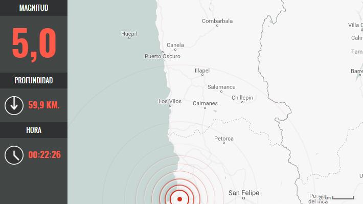 Sismo de magnitud 5,0 se registró en la zona central del país