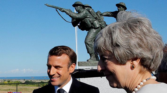 Macron y May dan inicio a las conmemoraciones de los 75 años del desembarco de Normandía
