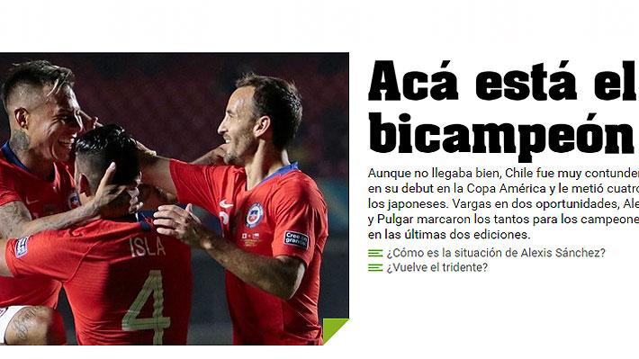 """Así lo vio el mundo: """"Chile debuta a lo campeón"""", """"goleada categórica"""", """"aplastó a Japón y sacó chapa"""" y """"triunfo exagerado"""""""