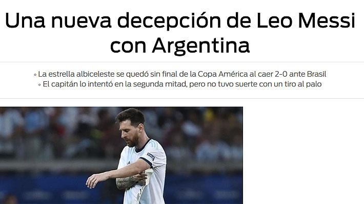 """Así lo vio el mundo: """"Continúa la miseria de Messi"""" y """"Brasil prolonga el calvario de Argentina"""""""
