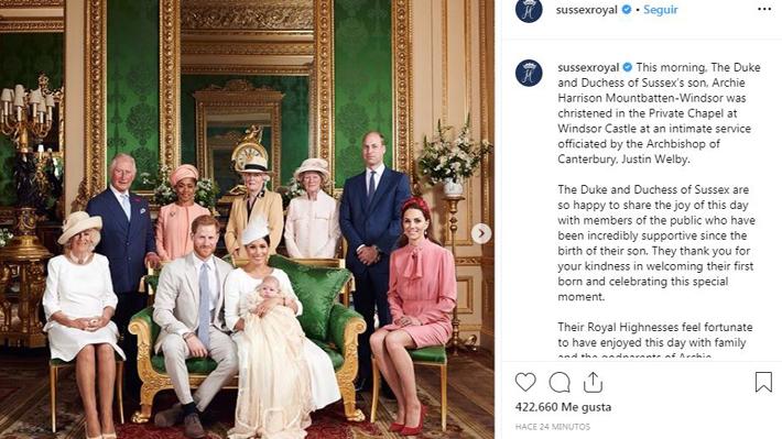 Duques de Sussex publican imágenes de bautizo de su hijo y entregan detalles de la ceremonia