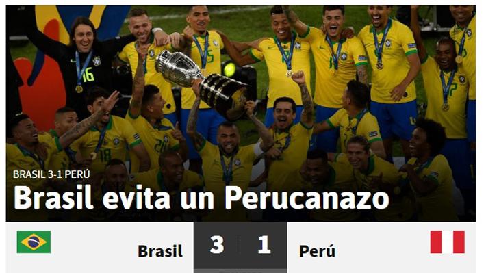 """Así lo vio el mundo: """"Brasil vence sin jogo bonito"""", """"Evitó un Perucanazo"""" y """"Por escándalo"""""""