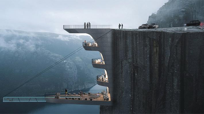 Fotos: Arquitecto diseña impresionante y aterrador proyecto de un hotel sobre un acantilado en Noruega