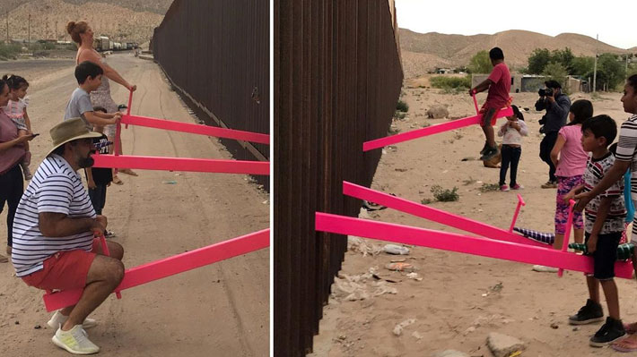 """""""Una obra de unión"""": Instalan balancines que cruzan la frontera entre EE.UU. y México"""