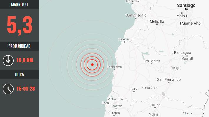 Réplica de magnitud 5,3 se registra en Pichilemu tras fuerte sismo de 6,6