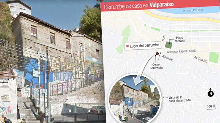 Mapa: Dónde se ubica la zona del fatal derrumbe de la vivienda en Valparaíso