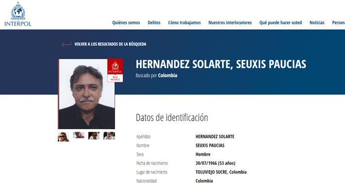 Interpol incluye a ex líder de las FARC en su lista roja de los más buscados del mundo