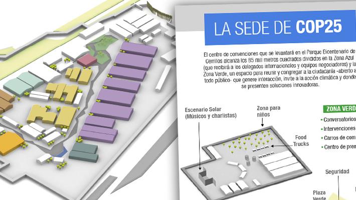 Así es el centro de convenciones de la COP25 que se levanta en el Parque Cerrillos