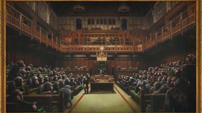 Subastarán obra de Banksy que representa al Parlamento británico siendo dirigido por chimpancés