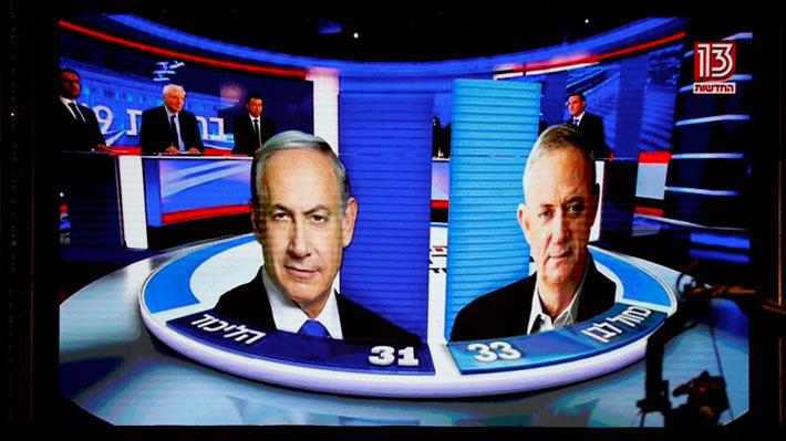 Sondeos a pie de urna indican un empate técnico entre los dos principales partidos israelíes