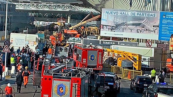Derrumbe en obra de aeropuerto de Buenos Aires deja un muerto y diez heridos