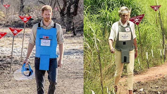 Príncipe Harry camina por un campo de minas en Angola tal como lo hizo su madre Diana hace 22 años