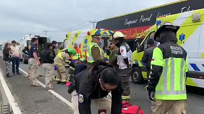 Grave accidente en la Ruta 5 Sur deja dos fallecidos y un herido con riesgo vital