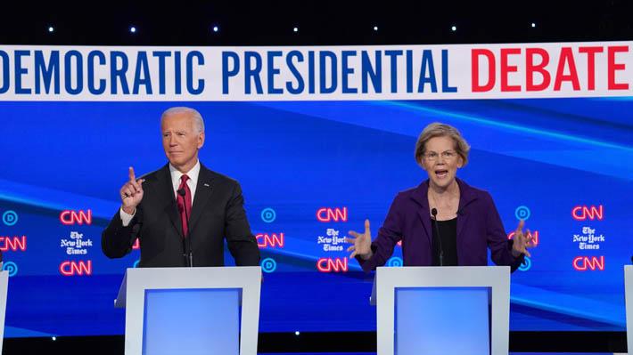 Ataques a Elizabeth Warren y el juicio político a Trump marcan el cuarto debate demócrata en EE.UU.