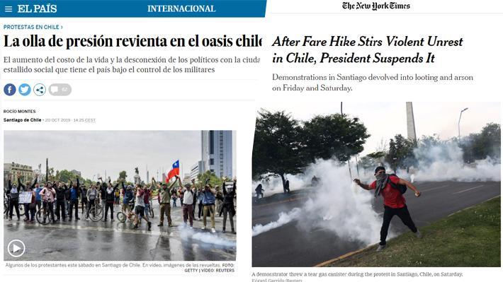 """Medios internacionales ante nueva jornada de protestas y toque de queda: """"La olla de presión revienta en el oasis chileno"""""""