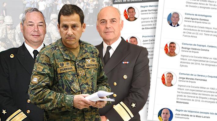 Quiénes son los militares a cargo de cada una de las zonas donde se decretó estado de emergencia
