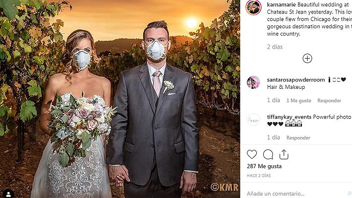 Conoce la historia detrás de la imagen de novios con mascarillas en medio de incendios en California que se volvió viral