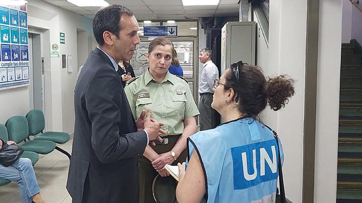 Misión de la Alta Comisionada de la ONU para los Derechos Humanos visitó a carabineras lesionadas por bomba molotov