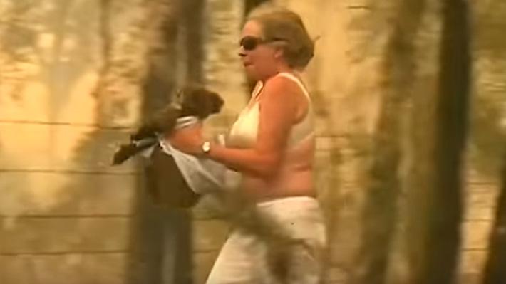 Australiana sorprende en medio de incendios forestales al rescatar a koala que intentaba huir de las llamas