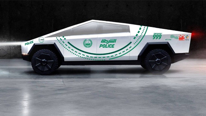 """El """"Cybertruck"""" de Tesla engrosará la lujosa flota de vehículos de la policía de Dubai"""