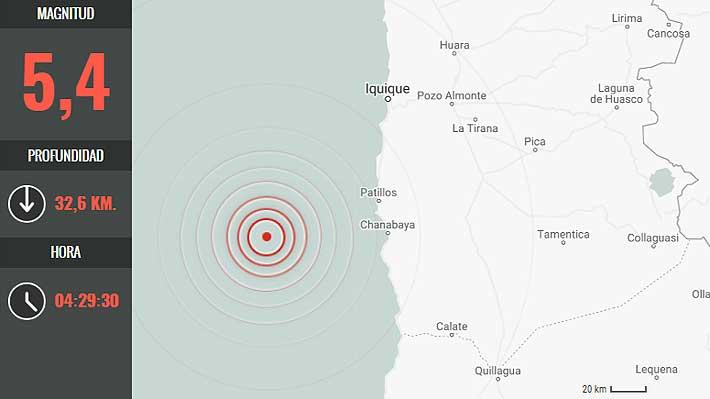 Sismo de 5,3 Richter se percibe esta madrugada en la Región de Tarapacá