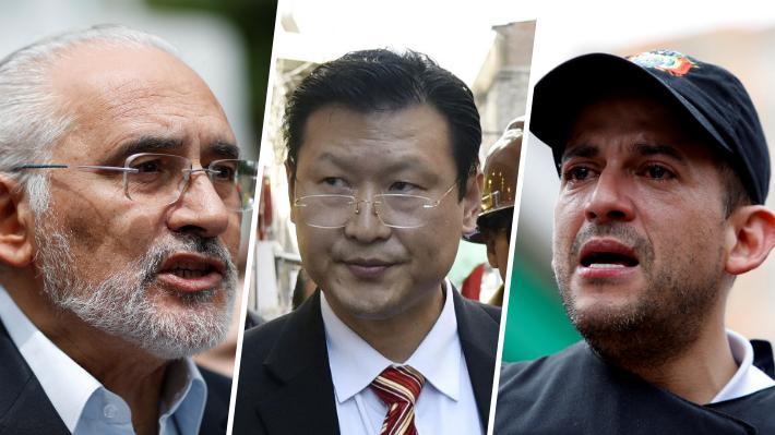 Carlos Mesa (izq), Chi Hyun Chung (centro) y Luis Fernando Camacho (der)