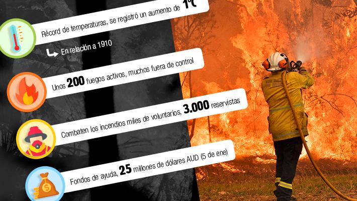 Los incendios en Australia y sus cifras: Territorio afectado equivale a la suma de casi cuatro regiones del centro de Chile