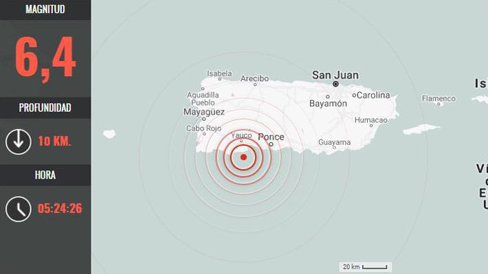 Sismo de magnitud 6,4 remece a Puerto Rico y provoca apagón en toda la isla