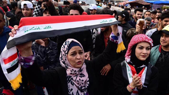 Iraquíes protestan en masa contra EE.UU. e Irán y Bagdad pide el retiro de tropas