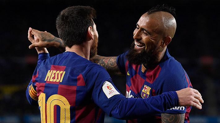 """""""El socio predilecto de Messi"""": En España se rinden ante un Vidal que salió ovacionado en triunfo del Barcelona"""
