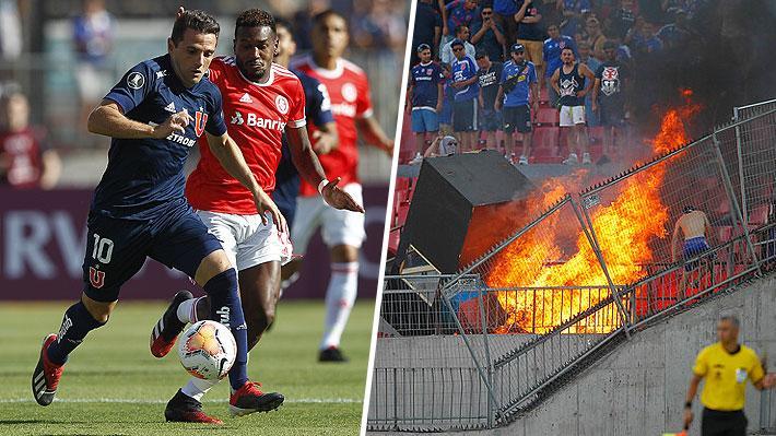 Mira la falta que le costó la roja a Montillo y las imágenes del incendio provocado en la galería por barristas de la U