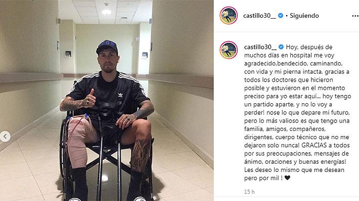 """Nicolás Castillo publica imágenes y un mensaje tras dejar el hospital: """"Hoy tengo un partido aparte... no sé lo que depare el futuro"""""""