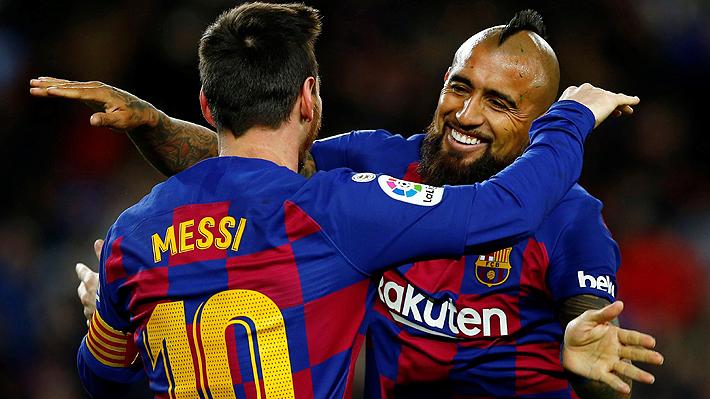 """Las muestras de la amistad y la """"sociedad"""" futbolística que han forjado Arturo Vidal y Lionel Messi en el Barcelona"""