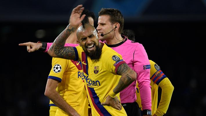 Arturo Vidal se fue expulsado en empate del Barcelona por Champions y terminó empañando una buena actuación
