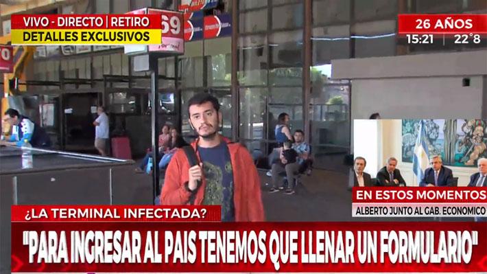 """""""Tengo coronavirus"""": Chileno es detenido en Argentina tras toser sobre periodista y asegurar que está infectado"""