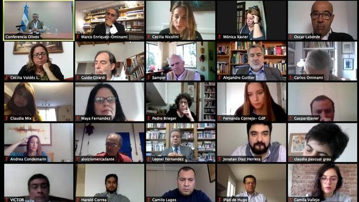 Presidente argentino se reúne con dirigentes y parlamentarios chilenos de oposición y abordan crisis del coronavirus