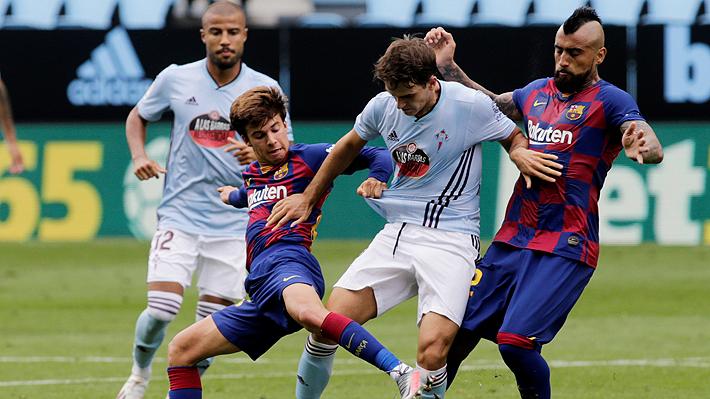 Vidal fue titular, pero no gravitó en dramático empate del Barcelona que lo deja líder a la espera del duelo del Madrid