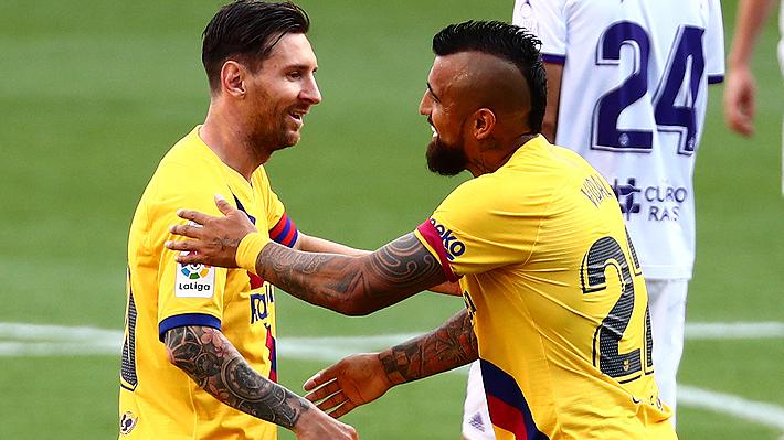 Se juntó con Messi y remató... Mira el gol de Arturo Vidal con que el Barça ganó al Valladolid